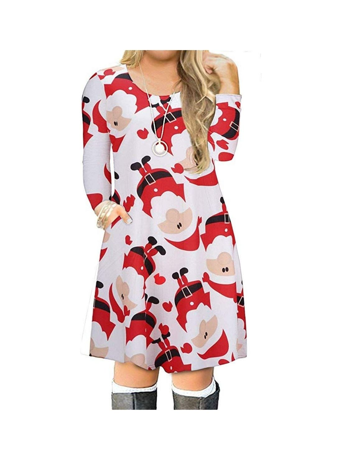 Wholesale Women's Christmas Simple T-shirt Loose Dress