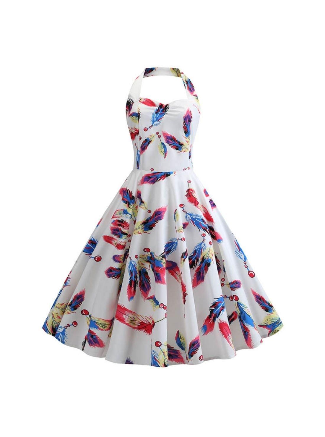 Wholesale Women's Floral Print Halter Vintage Dress