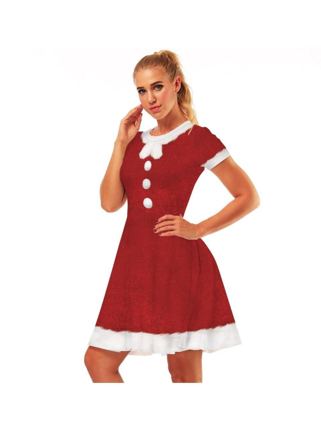 Wholesale Women's Short Sleeve A-line Christmas Dress