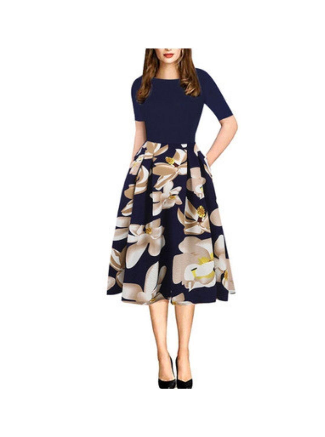 Wholesale Women's Vintage Patchwork Party Dress
