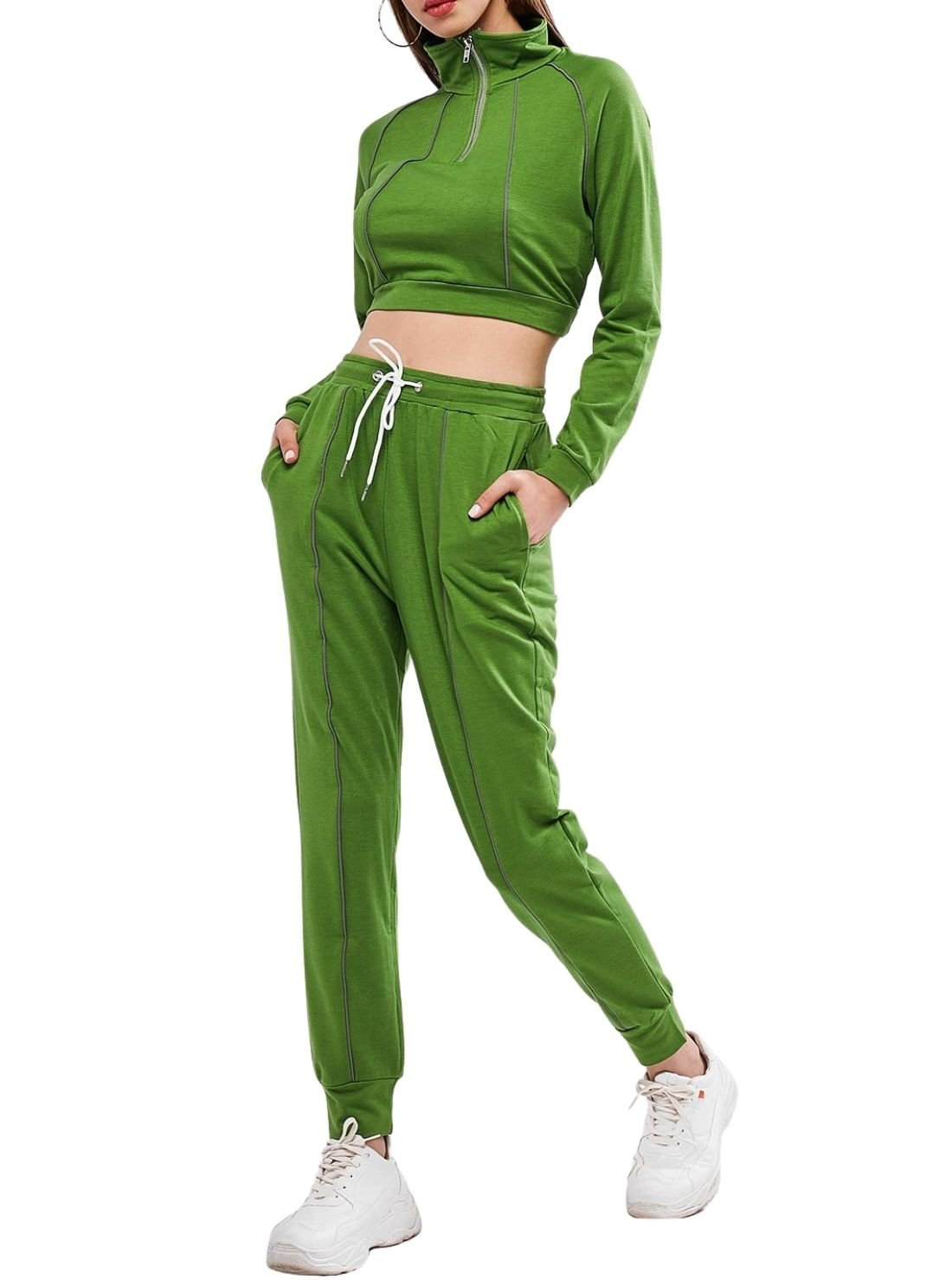 With Collar Front Zipped Joggers Sets